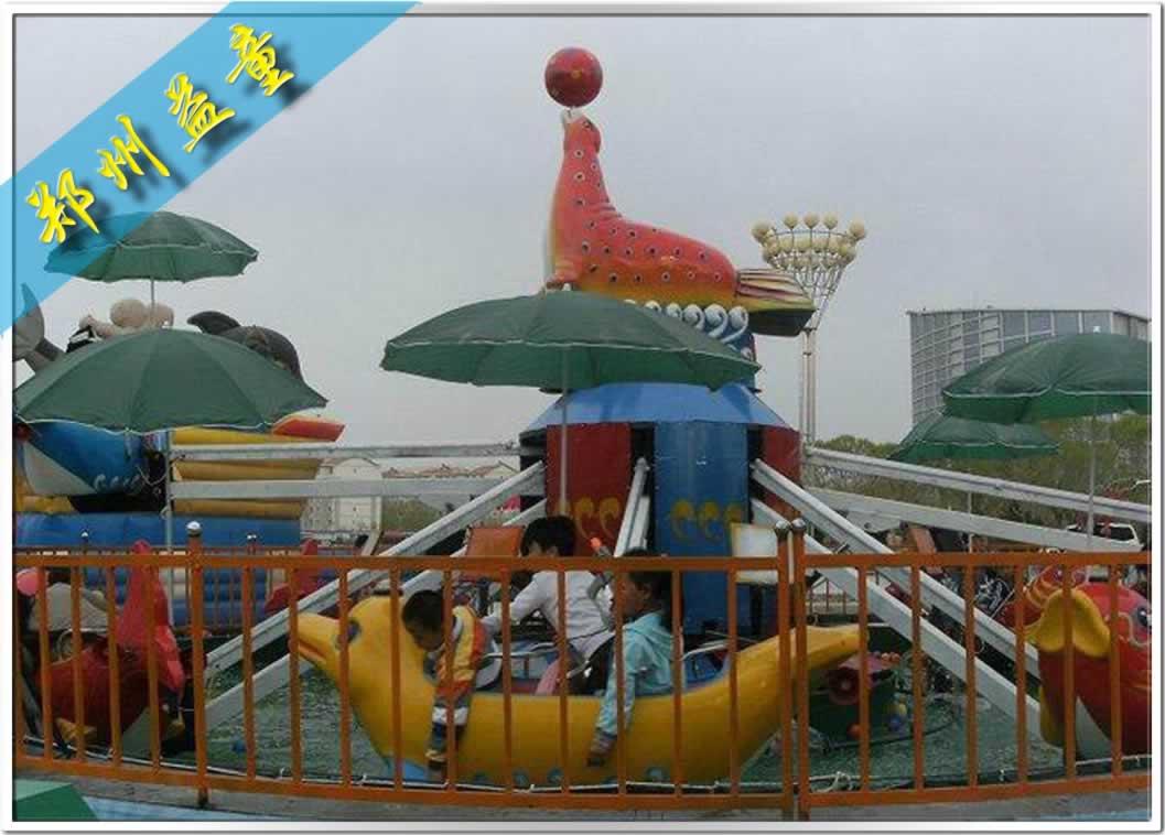 夏季公园好玩的hai豚戏水游乐设备